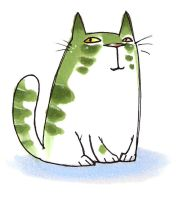 Green cat by Marji4x