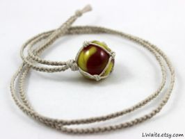 Yellow and Red Antique Marble Hemp Yellow Necklace by LWaite