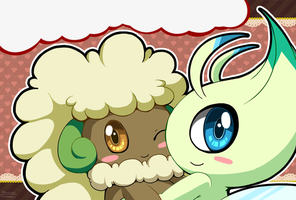Celebi and Whimsicott by Mutuki