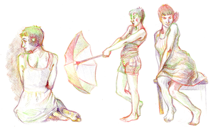 Figure Studies - Rainbow Sketches by TheElvishDevil