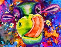 Watercolor cow by Naomian