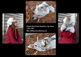 Coyote hood or cape headdress by lupagreenwolf