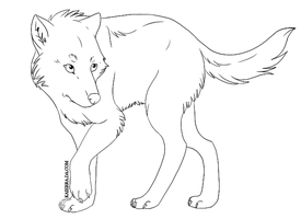 Wolf Lineart by kaierra