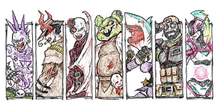 Drawn to Death: Character Roster by Dyemelikeasunset