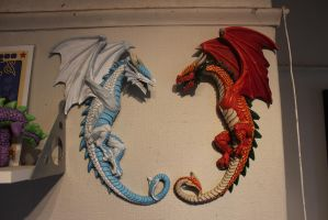 Fire and Ice wyvern, wall mounted by McMesser