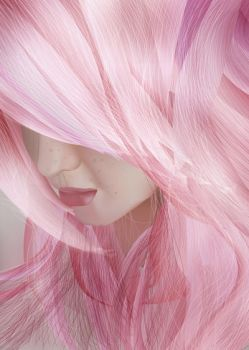 Pink girl in 3D vector by IkilledMyElegance