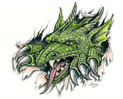 Dragon tear out by TattooBiker