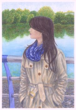 Mysterious girl in front of the river by Cancer--chan