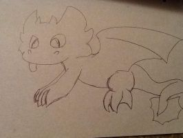 The sketch of toothless by DarkietheFox