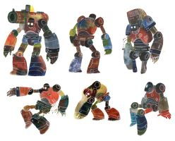 Watercolour Robots 3 by Duffzilla