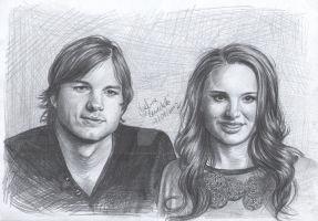 Ashton Kutcher and Natalie Portman Drawing by AngelinaBenedetti