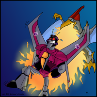 Starscream vs. Swoop by TwinTwosGirl