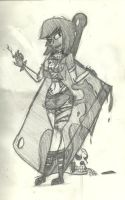 Art-Trade: Zombie Girl with a Meat Cleaver by AKB-DrawsStuff