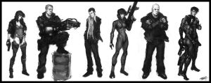 GITS character studies v1 by Peter-Ortiz