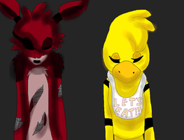 Foxy and Chica- Five nigths at freedys by AnitheCat595