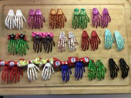 Decorated Skeleton Hand Hair Clips by Hairwego13