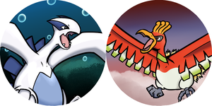 Lugia and Ho-Oh pins by mottekonigin