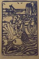 Love's harbor 4x6 inch block print by samjowers