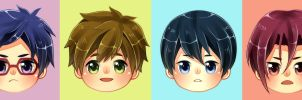 FREE! (chibi heads) by misunderstoodpotato