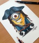 Minion Captain Jack Sparrow Pencil Drawing by AtomiccircuS
