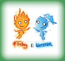 Fireboy and Watergirl by jack-the-pmpkn-queen