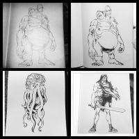 4 recent sketches...... by feeesh