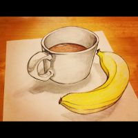 3D Illusion Coffee and Banana by dijinn