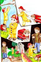 Fireman Dean and Firetruck Sam by Shanks-kun