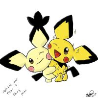 Notched Ear and Shiny Pichu by Popokino