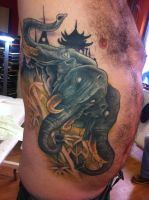 healed three headed elephant tattoo by WillemXSM