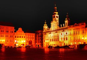 Main Square in Ceske Budejovice at Night03 by abelamario