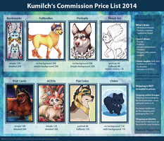 Commish Price List 2014 by Kumilch