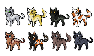 Kitten adopts set 4 FIVE LEFT by XycuroLawls