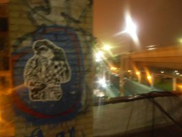 rooftop wheatpasting by Jankycc