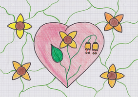 Yellow Flower Heart Doodle by Leichenengel