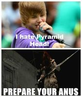 Pyramid Head hates Justin Beiber by GothicUndead101