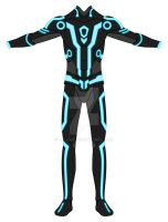 TRON suit :Blue Front view: by Xelku9