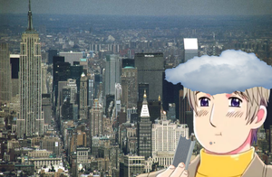 Giant Russia And His Cloud Hat (Eating A Building) by doitsus-on-a-plane