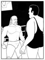Hulk and Andre BW by phymns