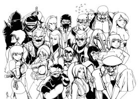 20 Ninjas -line art- by ziconviene