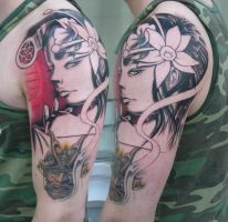 Freehand Geisha by viptattoo