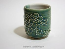 Single Flower Kanzashi One Sided Tea Cup by skimlines