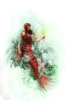 Lion fish mermaid by CassiopeiaArt
