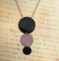 Pink and Black Drops Hand Torched Enamel Necklace by FusedElegance