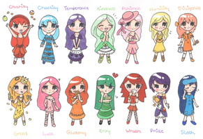 7 Deadly Sins and Heavenly Virtues Adoptables by Sweet-Fizz
