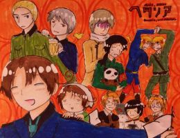 Hetalia- Axis, Allies, Prussia, and Chibitalia by Dhanica02