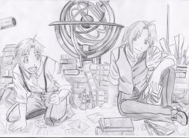 Edward and Alphonse at Library by Mitsusuki