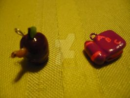 Book and Apple Charms by chibimemories