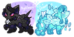 Nightmare and Dream slimerock pup auction by puqqie