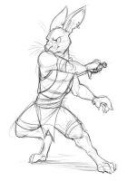 Rabbit with a Sword (Sketch) by Temiree